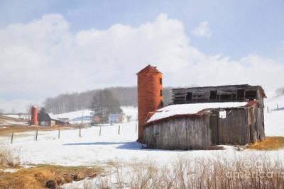 Digital Art - Winter Barns In Watercolor by Jill Lang