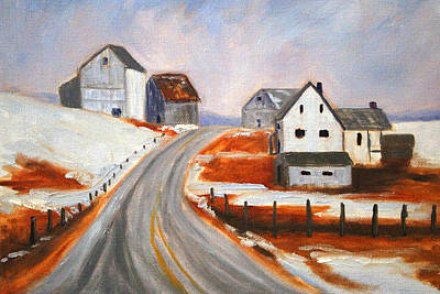 Contemporary Barn Landscape Painting - Winter Barns by Nancy Merkle