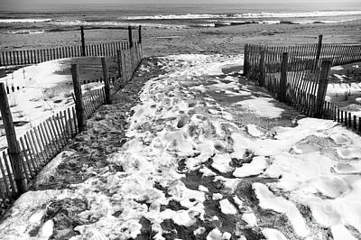 Photograph - Winter Beach Entry Mono by John Rizzuto