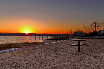 Photograph - Winter Beach Sunset by Bob Slitzan