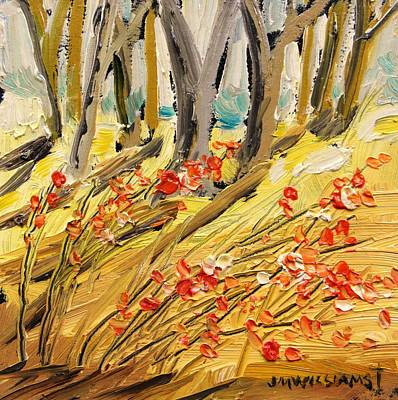 Warm Tones Drawing - Winter Berries by John Williams