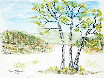 Snow Covered Ground Painting - Winter Birch by Carole F Perrine