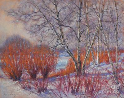 Winter Birches And Red Willows 1 Art Print by Fiona Craig