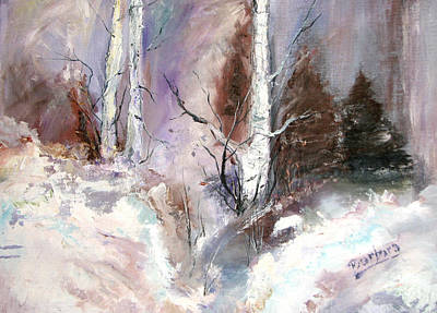 New England Snow Scene Painting - Winter Birches by Barbara Cole