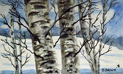 Painting - Winter Birches by Brenda Brown