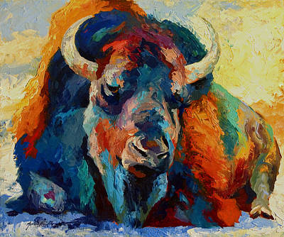 Prairie Painting - Winter Bison by Marion Rose