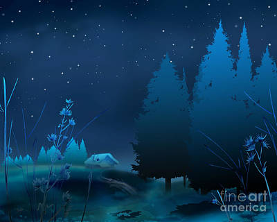 Winter Night Digital Art - Winter Blue Night by Bedros Awak