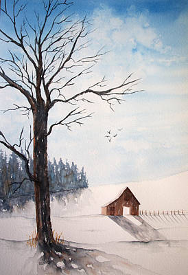Nature Painting - Winter Blue Skies by Rebecca Davis