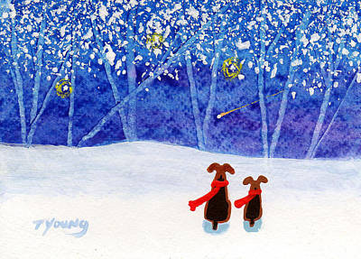 Snowy Night Painting - Winter Blue by Todd Young