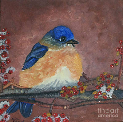 Painting - Winter Bluebird by Cecilia Stevens