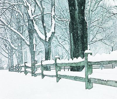 Split Rail Fence Photograph - Winter Blues by John Stephens
