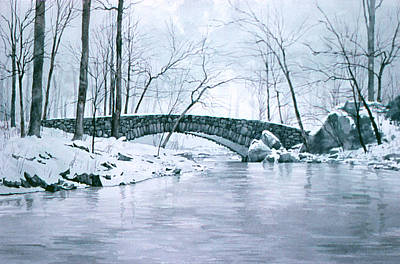 Painting - Winter Bridge by Tom Wooldridge