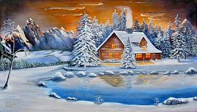 James Taylor Painting - Winter Cabin by James Taylor