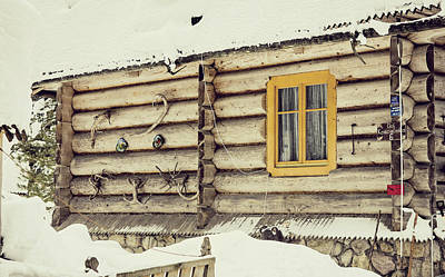 Christmas Holiday Scenery Photograph - Winter Cabin by Pati Photography