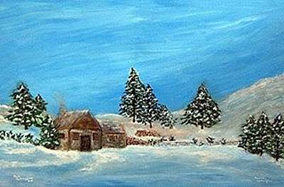 Log Cabins Mixed Media - Winter Cabin by Paul and Marica Cullingham