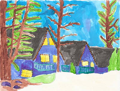 Art Print featuring the painting Winter Cabins by Artists With Autism Inc