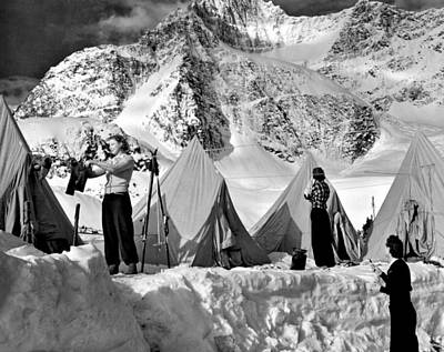 Photograph - Winter Camping by Underwood Archives