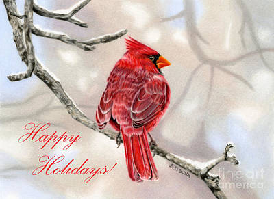 Winter Cardinal- Happy Holidays Cards Original by Sarah Batalka