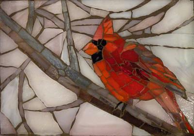 Glass Art - Winter Cardinal by Julie Mazzoni