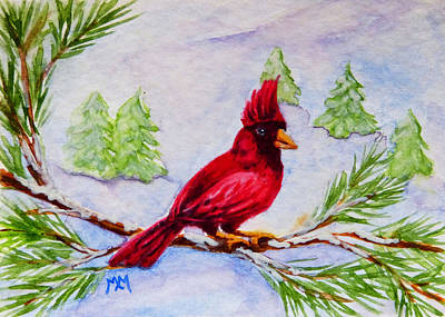 Painting - Winter Cardinal by Monique Morin Matson