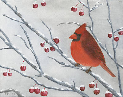 Etc. Painting - Winter Cardinal by Peter Miles