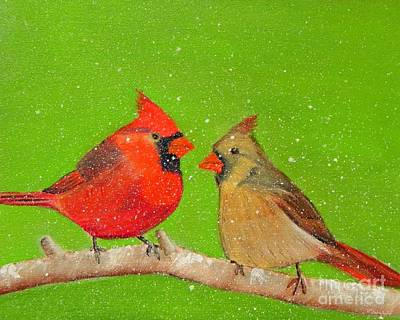 Painting - Winter Cardinals by Shelia Kempf