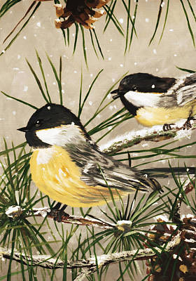 Chickadee Painting - Winter Chickadees by Chastity Hoff