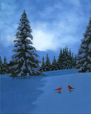 Winter Christmas Card 2012 Art Print by Cecilia Brendel