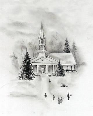 Church Drawing - Winter Church by Jacob Cane