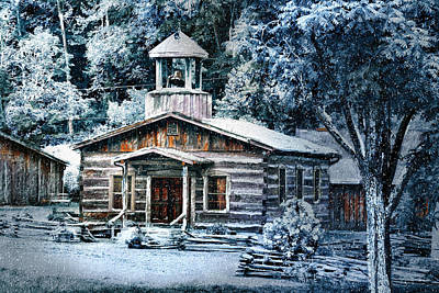 Digital Art - Winter Church by Mary Almond