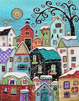 Primitive Folk Art Painting - Winter City by Karla Gerard