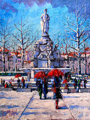 River Walk Painting - Winter City Scene - The Square  Marshal Lyautey In Lyon - France by Mona Edulesco