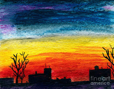 Winter City Twilight Art Print by R Kyllo