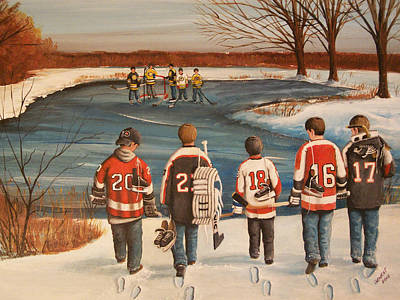Pond Hockey Painting - Winter Classic - 2010 by Ron  Genest