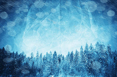 Distressed Digital Art - Winter Collage by Modern Art Prints