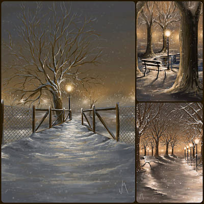 Snowscape Painting - Winter Collage by Veronica Minozzi