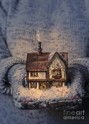 Snowy Night Photograph - Winter Cottage by Amanda Elwell