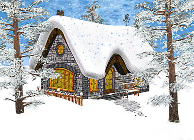 Digital Art - Winter Cottage by Design Windmill