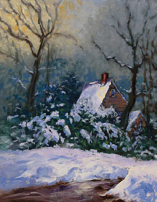 Painting - Winter Cottage by Ken Fiery