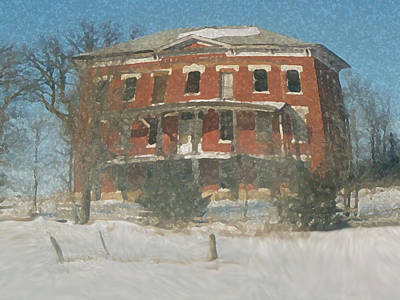 Mixed Media - Winter Courthouse by Dennis Buckman