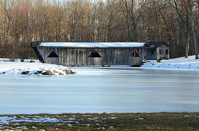 Winter Covered Bridge Art Print by Jennifer  King