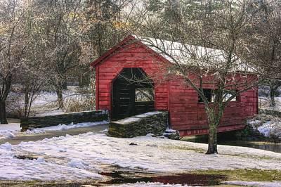 Winter Crossing In Elegance - Carroll Creek Covered Bridge - Baker Park Frederick Maryland Art Print by Michael Mazaika