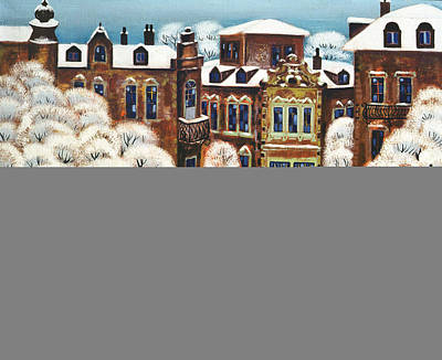 Folk Art Photograph - Winter Day In The City, 1975 Oil On Canvas by Radi Nedelchev