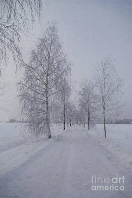 Snowed Trees Painting - Winter Day by Veikko Suikkanen