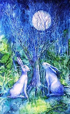 Moonlight Painting - Winter Descends As Two Hares Contemplate An Owl By Moonlight by Trudi Doyle