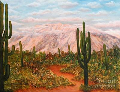 Art Print featuring the painting Winter Desert At Sunset by Judy Filarecki