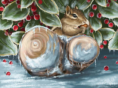 Christmas Squirrels Wall Art - Painting - Winter Dinner by Veronica Minozzi