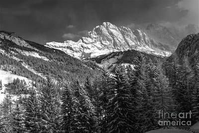 Gardena Photograph - Winter Dolomites In Black And White by Martin Capek