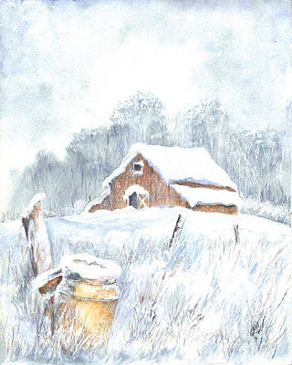 Winter Down On The Farm Print by Carol Wisniewski