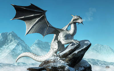 Tolkien Digital Art - Winter Dragon by Daniel Eskridge